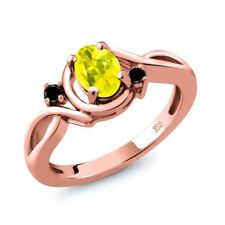 0.87 Ct Oval Canary Mystic Topaz Black Diamond 18K Rose Gold Plated Silver Ring