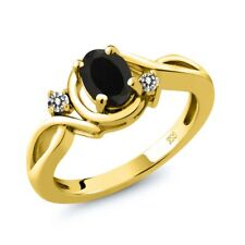 0.87 Ct Oval Black Onyx White Diamond 18K Yellow Gold Plated Silver Ring