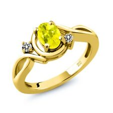 0.87 Ct Oval Canary Mystic Topaz White Diamond 18K Yellow Gold Ring