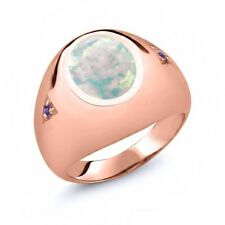 4.08 Ct Oval White Simulated Opal Purple Amethyst 14K Rose Gold Men's Ring