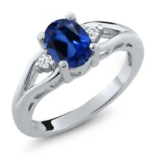 1.68 Ct Oval Blue Simulated Sapphire White Topaz 925 Sterling Silver Ring