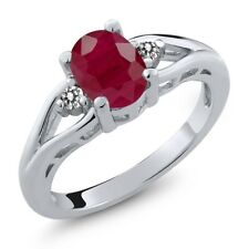 1.67 Ct Oval Red Ruby White Diamond 925 Sterling Silver Ring