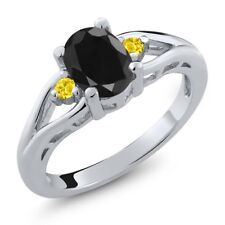 1.76 Ct Oval Black Sapphire Yellow Created Sapphire 925 Sterling Silver Ring