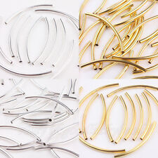 Lots 50/100Pcs Gold/Silver Plated Tube Spacer Jewellery Craft Beads Finding 50mm