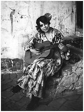 767.B&W Guitar lady Wall Art Decoration POSTER.Graphics to decorate home office.