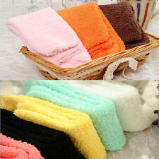 Women Girls Bed Socks Pure Color Fluffy Warm Winter Kids Gift Soft Floor Home