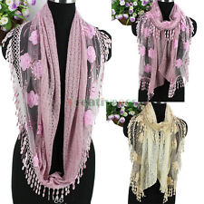 Fashion Women's 3D Flowers Sequin Tassel Lace Stitching Long/Infinity Scarf New