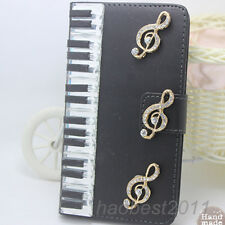 Bling Diamonds piano keys music note PU leather wallet flip Case cover skin #H