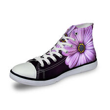 Floral Fashion Womens Canvas Shoes Ladies High Top Lace Up Casual Shoes Sneakers