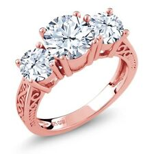 2.90 Ct Round White Topaz 18K Rose Gold Plated Silver 3-Stone Ring