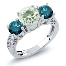 2.20 Ct Round Green Amethyst Blue Diamond 925 Sterling Silver 3-Stone Ring