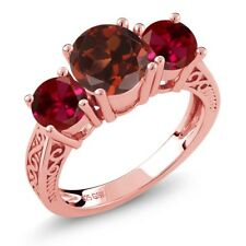 2.50 Ct Round Red Garnet Created Ruby 18K Rose Gold Plated Silver 3-Stone Ring