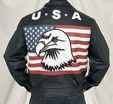 LEATHER MOTORCYCLE BIKER JACKET AMERICAN FLAG EAGLE USA