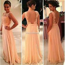 Sexy Women Backless Lace Chiffon Maxi Party Cocktail Evening Long Prom Dress SH