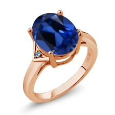 6.14 Ct Oval Blue Simulated Sapphire Swiss Blue Topaz 14K Rose Gold Ring