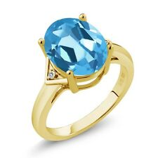5.02 Ct Oval Swiss Blue Topaz White Sapphire 18K Yellow Gold Plated Silver Ring