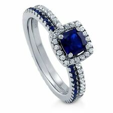 Sterling Silver Cushion Simulated Blue Sapphire Cubic Zirconia CZ Halo Enga 253
