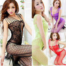 HOT Sexy Woman Open Crotch Mesh Nightwear Fishnet Bodystocking Stocking Lingerie