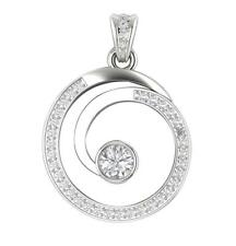 Excellent SI1/G 1.10Ct Real Diamond 14Kt Gold Prong Set Circle Pendant Necklace