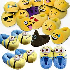Unisex Winter Warm Emoji Minions Soft Plush Antiskid Indoor Home Slippers Shoes