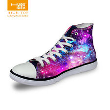 Galaxy Women Casual Sport Shoes Canvas High Top Flat Lace Up Trainers Sneakers