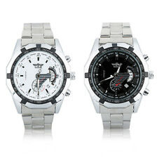 WINNER Mens Mechanical Calendar Wrist Watch Cool Stainless Steel +Buckle