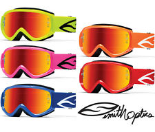SMITH FUEL V1 MAX SOLID COLOUR MOTOCROSS MX ENDURO GOGGLES with RED MIRROR LENS