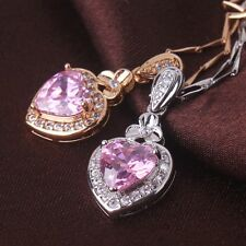 Sweet heart creative chic pink sapphire wedding 18k gold filled pendant necklace