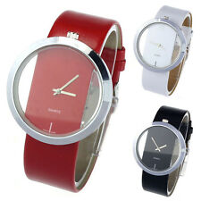 Stainless PU Leather Transparent Dial Hollow Analog Quartz Wrist Watch Watches