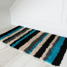SMALL LARGE RUGS THICK SOFT SHAGGY RUG NON SHED RUNNER STRIPE TURQUOISE BLUE RUG
