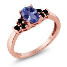 0.71 Ct Oval Blue Tanzanite Black Diamond 18K Rose Gold Plated Silver Ring