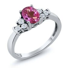 0.82 Ct Oval Pink Mystic Topaz White Topaz 925 Sterling Silver Ring