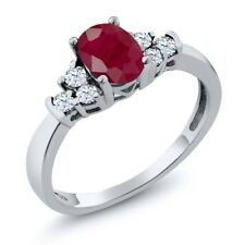 0.92 Ct Oval Red Ruby White Topaz 925 Sterling Silver Ring