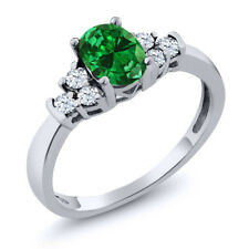 0.67 Ct Oval Green Simulated Emerald White Topaz 18K White Gold Ring