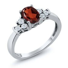 0.82 Ct Oval Red Garnet White Topaz 925 Sterling Silver Ring