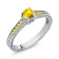 0.46 Ct Round Yellow VS Sapphire 925 Sterling Silver Engagement Ring