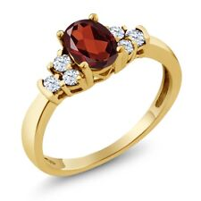 0.82 Ct Oval Red Garnet White Topaz 18K Yellow Gold Plated Silver Ring