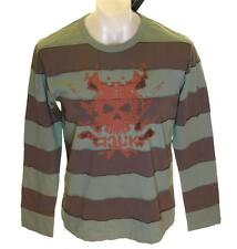 Bnwt Men's French Connection Long Sleeved Striped Skull T Shirt Top New
