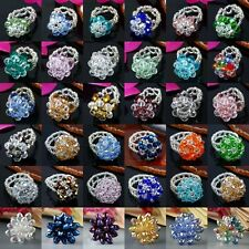 Women Fashion Crystal Adjustable Faceted Beads Cocktail Finger Ring US 6-7.5