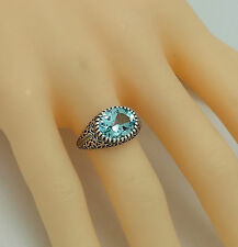 Amethyst Blue Topaz RING Sterling Silver 925 Silver ANTIQUE STYLE