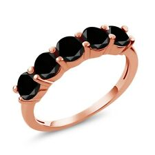 0.85 Ct Round Black AAA Diamond 14K Rose Gold Wedding Band Ring