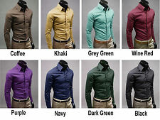 Men Casual Turn Down Collar Long-Sleeve Dress shirts Slim Fit Handsome Button