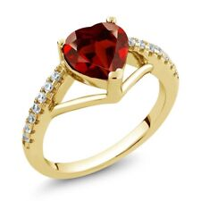 1.46 Ct Heart Shape Red Garnet 18K Yellow Gold Plated Silver Ring