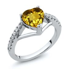 1.21 Ct Heart Shape Yellow Citrine 925 Sterling Silver Ring