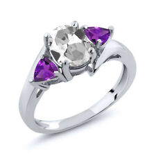 1.72 Ct Oval White Topaz Purple Amethyst 925 Sterling Silver Ring