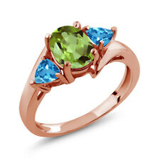 1.89 Ct Oval Green Peridot Swiss Blue Topaz 18K Rose Gold Ring
