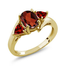 1.88 Ct Oval Red Garnet 18K Yellow Gold Plated Silver Ring