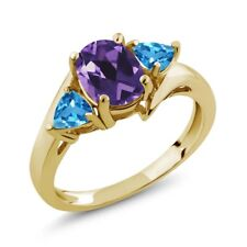 1.56 Ct Oval Purple Amethyst Swiss Blue Topaz 18K Yellow Gold Plated Silver Ring