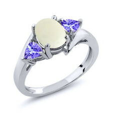 1.47 Ct Oval Cabochon White Opal Blue Tanzanite 925 Sterling Silver Ring