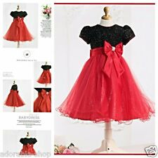 Kids Reds Blacks Wedding Party Bridesmaid Outfit Flower Girls Dresses SIZE 2-10Y
